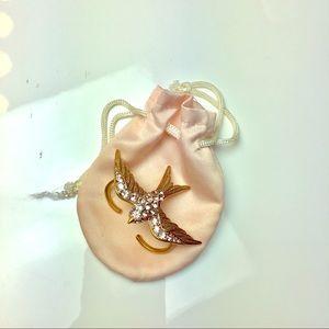 Juicy Couture diamond bird double ring